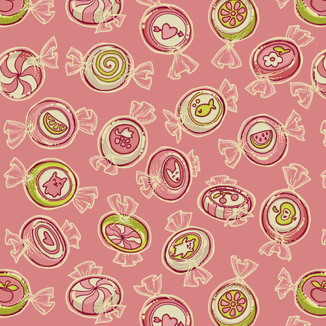 candy - pink and green fabric by celandine on Spoonflower - custom fabric