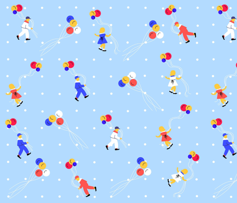 Balloon Children fabric by almost_vintage on Spoonflower - custom fabric