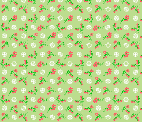 Green Asian Rose fabric by almost_vintage on Spoonflower - custom fabric