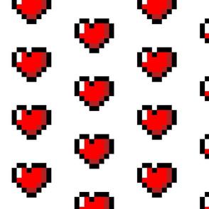 Pixel 8-Bit Heart - White