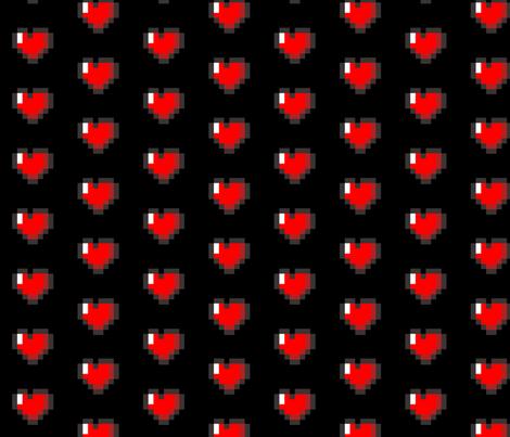 Pixel 8-Bit Heart - Black fabric by craft_geek_or_die on Spoonflower - custom fabric