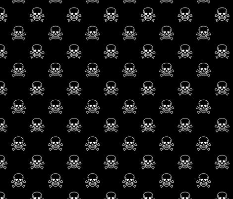Skull and Cross Bones - Black fabric by craft_geek_or_die on Spoonflower - custom fabric
