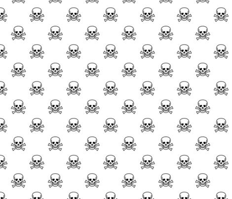 Skull and Cross Bones - White fabric by craft_geek_or_die on Spoonflower - custom fabric