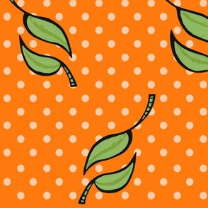 Fall Tango green on orange dots