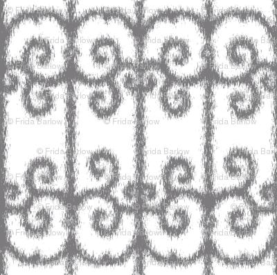 Ikat Wrought Iron Swirls in Gray