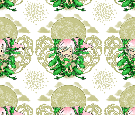 Cute Elf Among Mint fabric by windmillcookie on Spoonflower - custom fabric
