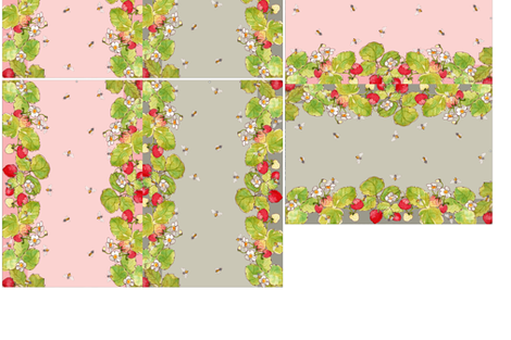 Five Reversible Placemats - Strawberries and Bees fabric by anntuck on Spoonflower - custom fabric