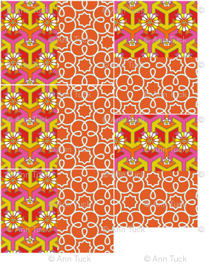 Five Reversible Placemats - Orange Geometric