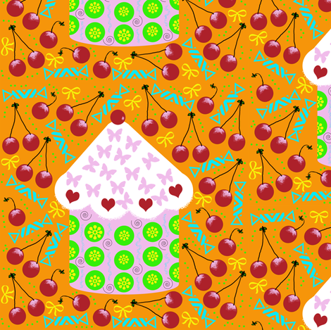 Sweet Little Cupcake Treat (c)indigodaze2012 fabric by indigodaze on Spoonflower - custom fabric