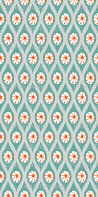 Modern Turquoise and Orange on Grey