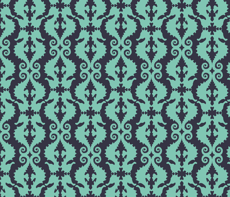 Hard-to-See Horse: aqua & navy fabric by nadiahassan on Spoonflower - custom fabric