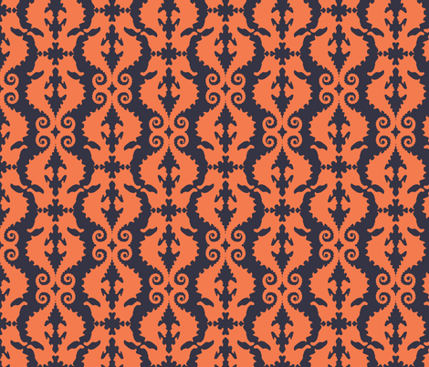 Hard-to-See Horse: coral & navy fabric by nadiahassan on Spoonflower - custom fabric