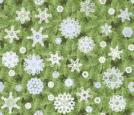 Snowflake_Shower_in_the_Pine fabric by khowardquilts on Spoonflower - custom fabric