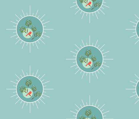 Seafoam snowflake winter bird fabric by langdon on Spoonflower - custom fabric