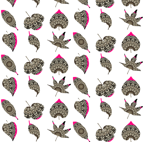 Zesty Zebra Leaves 3 - With Pink Zing fabric by dovetail_designs on Spoonflower - custom fabric