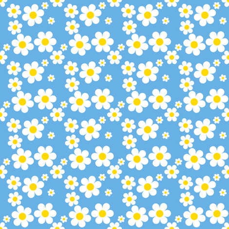Sweetie Pie Daisy - Blue fabric by shelleymade on Spoonflower - custom fabric