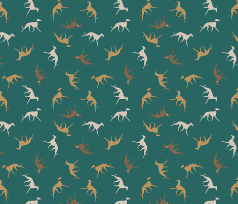 sighthound with collar- emerald fabric by lobitos on Spoonflower - custom fabric