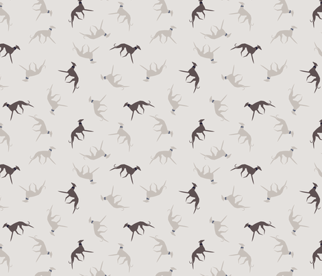 sighthound with collar blueberry fabric by lobitos on Spoonflower - custom fabric