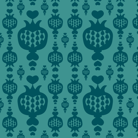 schraegerfuerst, pomegranate, petrol fabric by schraegerfuerst on Spoonflower - custom fabric