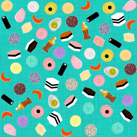 Pocket Money Yummies on Teal fabric by glanoramay on Spoonflower - custom fabric