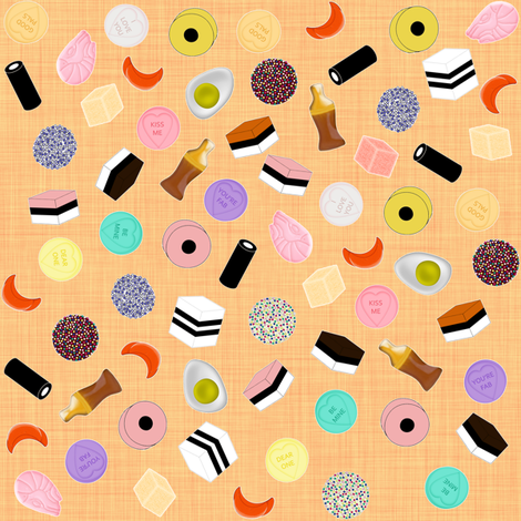 Pocket Money Yummies on Orange fabric by glanoramay on Spoonflower - custom fabric