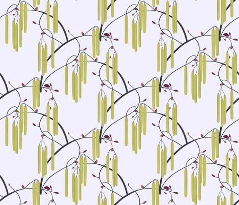 Hazelnut catkins fabric by alfabesi on Spoonflower - custom fabric