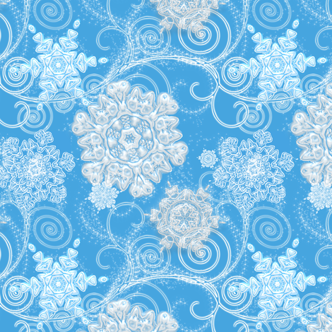 Jewels of the North Wind Snowflakes in Blue fabric by joanmclemore on Spoonflower - custom fabric