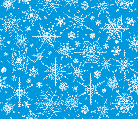 Snowflakes - medium blue fabric by victorialasher on Spoonflower - custom fabric