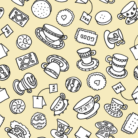 Tea Time Sweets (butter) fabric by pattyryboltdesigns on Spoonflower - custom fabric