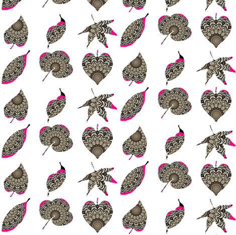 Zesty Zebra Z-Leaves 4 - With Pink Zing fabric by dovetail_designs on Spoonflower - custom fabric