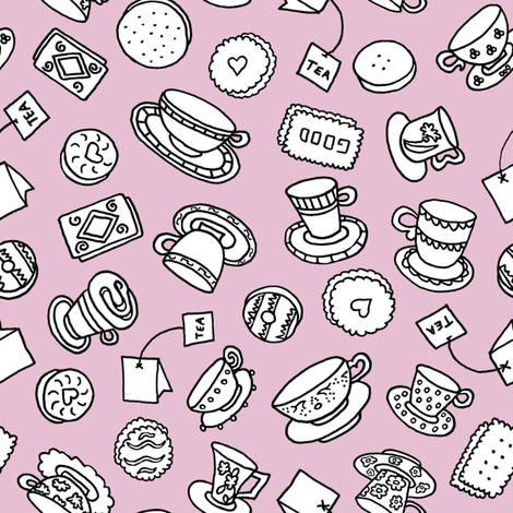 Tea Time Sweets (raspberry) fabric by pattyryboltdesigns on Spoonflower - custom fabric
