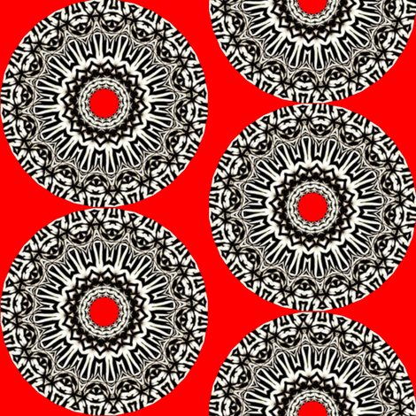 Zesty Zebra Zircles 4 - Red Zebra Zingers fabric by dovetail_designs on Spoonflower - custom fabric