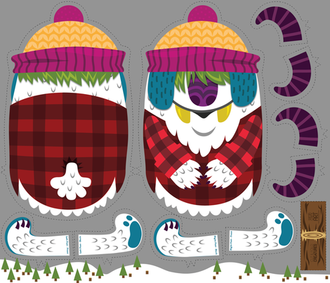 Two-Horned Jack: A Cut and Sew Yeti fabric by sjeanetteclark on Spoonflower - custom fabric