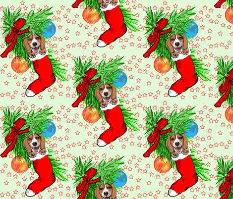 Beagle Christmas fabric by dogdaze_ on Spoonflower - custom fabric