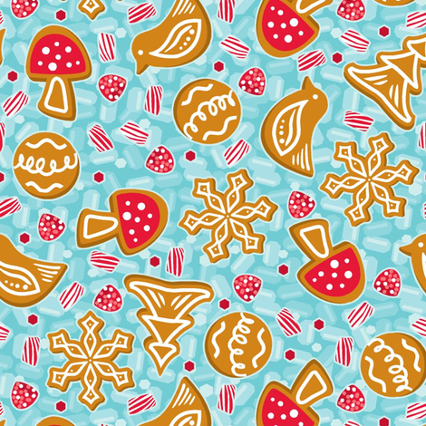 Festive Gingerbread and sweets fabric by cjldesigns on Spoonflower - custom fabric
