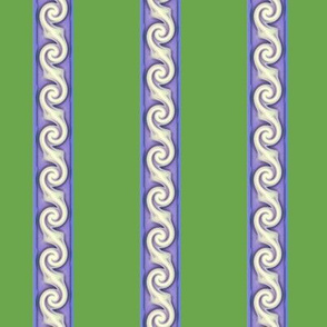 Curly Stripes  -moss & periwinkle