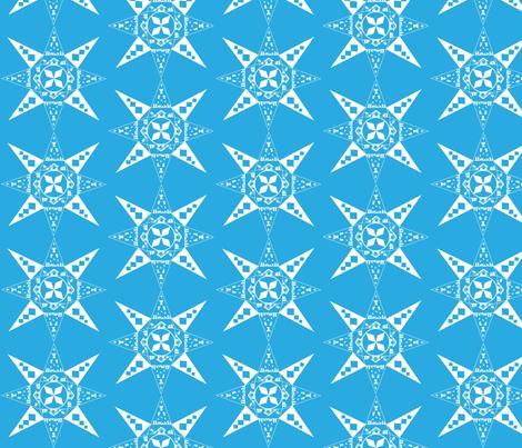 Nativity Snowflake blue fabric by kfrogb on Spoonflower - custom fabric