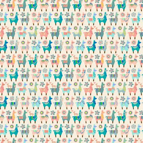 """Llama Fun  - Small 3/4"""" high fabric by mariafaithgarcia on Spoonflower - custom fabric"""