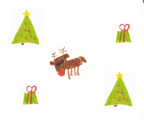 Christmas Reindeer Tree and Present fabric by melatter1210 on Spoonflower - custom fabric