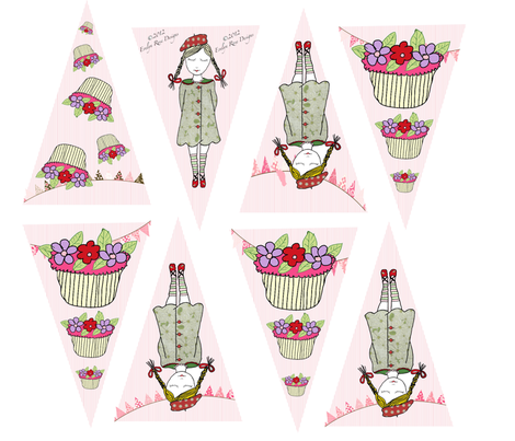 Cupcake Collection Bunting fabric by evelynrosedesigns on Spoonflower - custom fabric