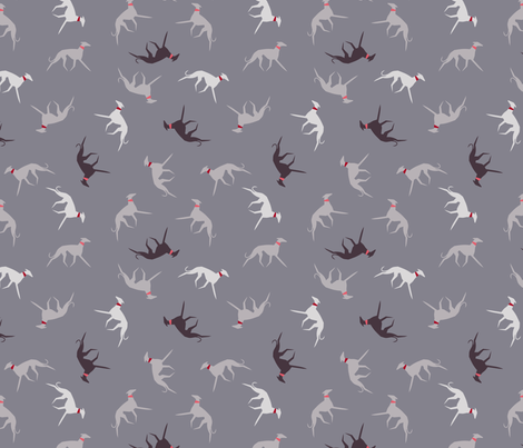 sighthound with collar fabric by lobitos on Spoonflower - custom fabric