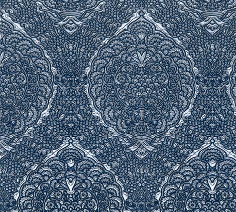 Queen Margareta's Silver Gown Brocade Imitation fabric by bonnie_phantasm on Spoonflower - custom fabric