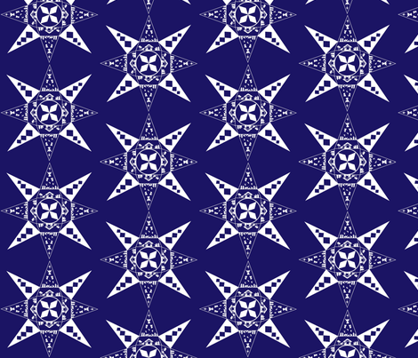 Nativity snowflake dark blue fabric by kfrogb on Spoonflower - custom fabric