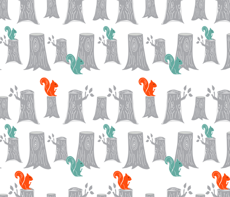 Woodland_Tree_Trunks fabric by emilyannstudio on Spoonflower - custom fabric