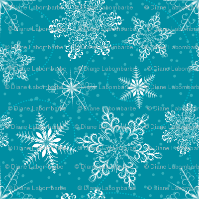 Large Snowflakes On Blue