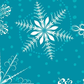 Large Snowflakes On Blue