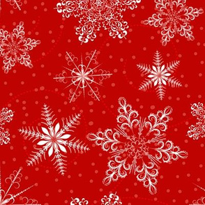 Large Snowflakes On Red