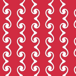 Swirly Stripes  -red & white