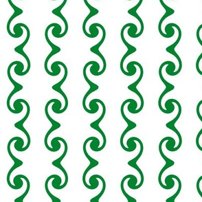 Swirly Stripes  -white & green