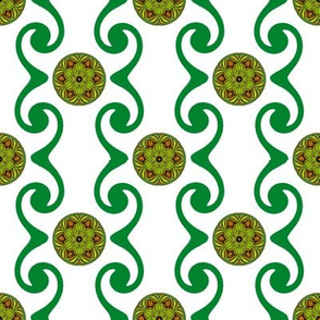 Swirly Stripes -Green with  Medallions
